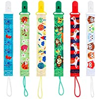 Lictin 6pcs 2-Sided Dummy Chains Pacifier Chains Pacifier Clip Beaded Designs Soother Chains Soother Clip Soother Holder Soother Clip with Baby Name DIY Design Great Gift for Newborn(S)