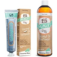 Doctor Ginger's Dr. Ginger'S Coconut Oil Pulling & Whitening Mouthwash & Coconut Oil Fluoride Free Toothpaste Bundle
