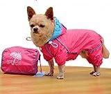Prafa Hund Katze Huastier Regenjacke Regenmantel Hoodies Hundemantel Warm Wasserdicht (#C Rosarot, L)