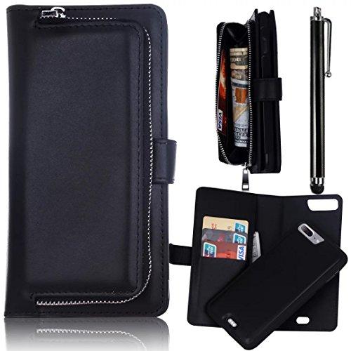 Wallet Case, iPhone 7 Plus 5.5 inch Funda, Bonice Multifunción Monedero Carcasa Premium PU Cuero Magnético Desmontable Folio Cremallera Cover Soporte Plegable Ranuras para tarjetas - Negro