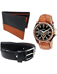 XPRA Analog Watch, Black PU Leather Belt & Black Leather Wallet For Men/Boys Combo (Pack Of 3) - (WL-3CMB-29)