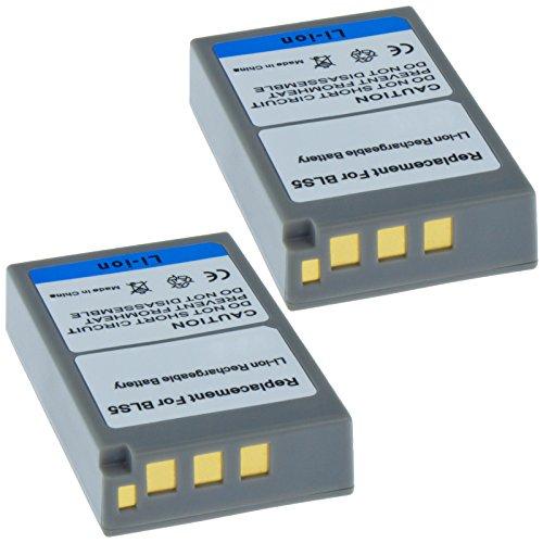 2x MTEC Kameraakku 1150mAh 8,51Wh 7,4V für Olympus E-M10 OM-D Pen E-PL2 E-PL5 E-PL6 E-PM2 ersetzt Originalakku Bezeichnung: PS-BLS5