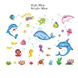 Impermeable adhesivo de pared Tatuajes de pared adhesivo Decoracion Arte Mural baño bricolaje Pescado,AY7187 - STICKERKING115 - amazon.es
