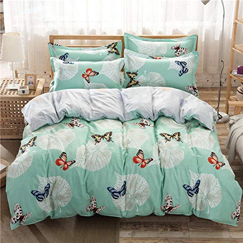 Unbekannt Bettwäsche Baumwolle Vier Sätze von einfachen dicken Quilt Kissenbezug Bettwäsche - Schmetterling Liebe_1,5 m Bett