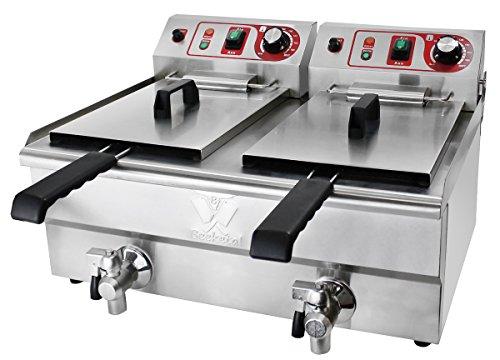 Beeketal Bwf 400v Serie Kaltzonen Fritteusen Edelstahl Friteusen Mit Temperaturkontrolle Und Fettablaufhahn
