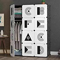 ALIZA Interlocking 12-Cube Collapsible Cupboard | Modular Storage Cabinet Unit | Black and White Elegant Pattern Design | Bedroom/Living room Furniture