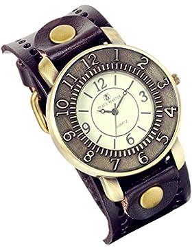Lancardo Armbanduhr für Mädchen und Damen, Vintage-Design Bronze, breites Lederarmband, Braun