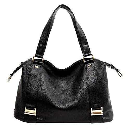 Yy.f Primo Strato Di Pelle Cuoio Burlone Big Bag Borse Allingrosso Computer Portatile Estrinseca La Moda Intrinseca E Pratico. Multicolore Black