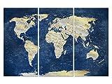 JETZT REDUZIERT / BEGRENZTER EINFÜHRUNGSPREIS! XXL Glasbild Triptychon EM30000007 WELTKARTE Blau 150 x 100 cm Motiv hinter 4mm Sicherheitsglas! INKL. AUFHÄNGESYSTEM (Haftbleche & Abstandhalter)