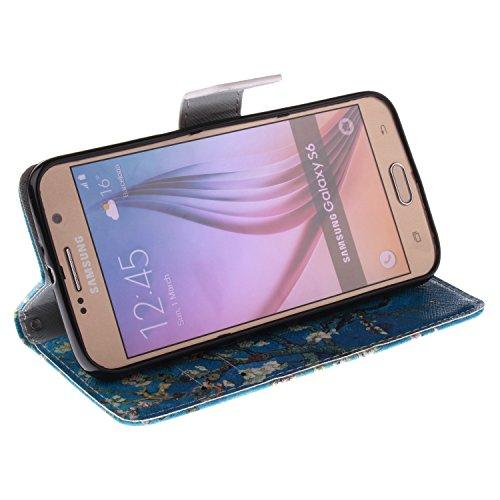 Coque pour Samsung Galaxy S4 Mini, ISAKEN Élégant Style PU Cuir Flip Magnétique Portefeuille Etui Housse de Protection Coque Étui Case Cover avec Stand Support pour Samsung Galaxy S4 Mini I9190 I9195  Arbre Bleu
