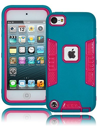 Bastex Heavy Duty Robotic Design Hybrid Blaugrün Gummierte Fall mit Hot Pink Hard Einsatz für Apple iPod Touch 5 -