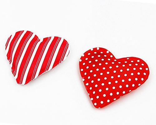"""2 er SET ( = 2 Stück ) praktische Taschenwärmer """" HEARTS /HERZEN """" - schnell wieder warme Hände / wiederverwendbar - Handwärmer in Herzform - gegen kalte Hände - Taschenkissen - ideal im Frühling Sommer Herbst Winter (STRIPES)"""
