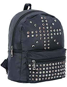 DonDon Damen Rucksack PU-Leder oder Nylon mit Nieten schwarz
