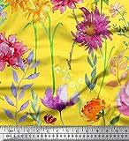 Soimoi Gelb Samt Stoff Rose, Dahlie & Poinsettia Blume