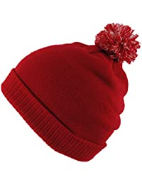 4beb6c9290e569 BNWT Junior Kids Knitted Green Navy Red Winter Wooly Roll-Up Beanie Bobble  Hat