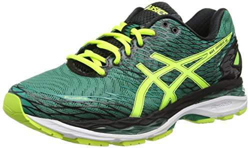 asics-gel-nimbus-18-mens-training-running-shoes-green-pine-flash-yellow-black-8807-95-uk-44-1-2-eu