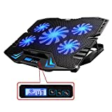 TopMate 12-15.6 inch Gaming Laptop Cooler, Five Quite Fans and LCD Screen,2500RPM Strong