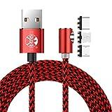 Distinct 2M Nylon Geflochtene 360 Grad Runde magnetische Micro-USB-Ladekabel, L Seite Schnittstelle Magnet-Adapter für Android Samsung, LG, Sony, Huawei Geräte (Rot)