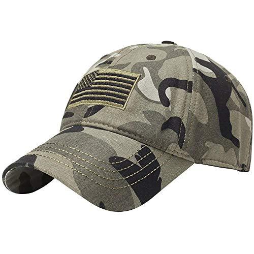 Usa Bestickte Ajustable Strap Cap Baseball Frühling Herbst Closure Outdoor 20er Jahre Basecap Mützen Snapback Cap (Color : Caumouflage, Size : One Size)