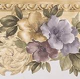 Gold Grau Braun Blumen Abstrakt Tapete Bordüre Paint von Design, Rolle 15'x 21,6cm