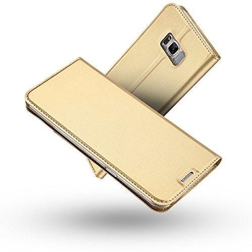 Galaxy S8 Plus Hülle,Galaxy S8 Plus Lederhülle,Radoo® Premium PU Leder Handyhülle [Ultra Slim][Kabelloses Aufladen Unterstützung] Brieftasche-stil Magnetisch Folio Flip Klapphülle [Transparenter TPU Stoßfänger] Etui Brieftasche Hülle [Karte Halterung] Schutzhülle Tasche Case Cover für Samsung Galaxy S8 Plus (Gold) (Klappe-karte Leder -)