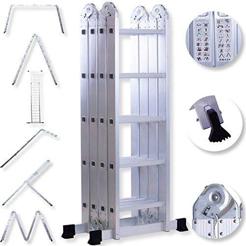 Masko® 6in1 Mehrzweckleiter 5.56M ALU Anlegeleiter Klappleiter Stehleiter Aluminium Modell: 4 x 5 Stufen