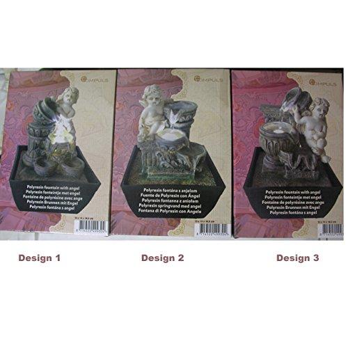 Zimmerbrunnnen Engel mit LED Beleuchtung 18cm Luftbefeuchter Deko 3 Designs Auswahl Design 1