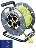 Goobay Kabeltrommel mit Kabelführung 40 m, Grau-Grün - 4X Schutzkontaktsteckdosen mit Überspannungsschutz