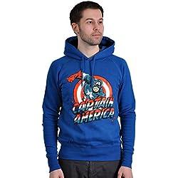Capitán América - sudadera con capucha - Marvel Comics - estampado frontal grande - azul - XXL