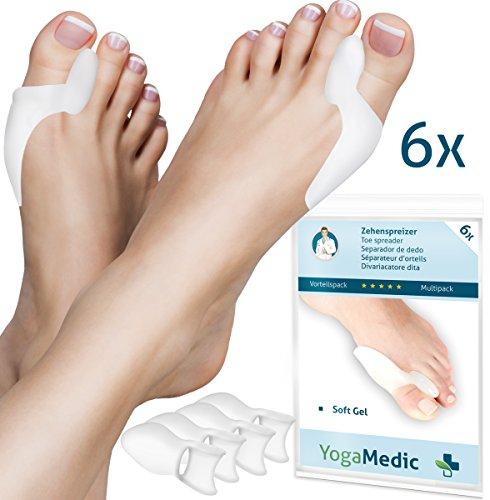 YogaMedic – 6separadores de dedos de silicona para tratar juanetes, supersuaves, cómodos y resistentes, sin BPA