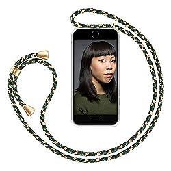 """ZhinkArts Handykette kompatibel mit Apple iPhone 7 / iPhone 8-4,7"""" Display - Smartphone Necklace Hülle mit Band - Schnur mit Case zum umhängen in Grün Camouflage"""