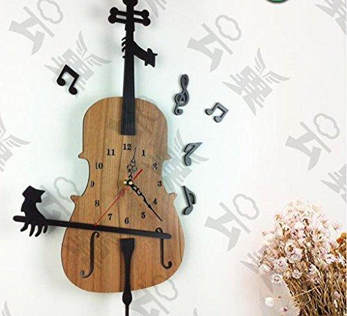 MNMKJH,Violin-Wanduhr, art moderne kreative Wohnzimmer hängen Profilholz Tischuhr mute Wanduhr sehen