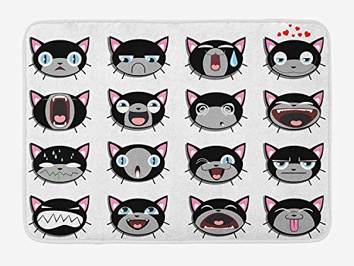 Cat Bath Mat, Group of Kitten Faces Bored Angry Confused Depression Shouting Emotions, Plush Bathroom Decor Mat with Non Slip Backing, 23.6 W X 15.7 W Inches, Grey Black White Pink Vintage Pink Depression Glass