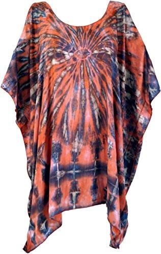 Guru-Shop Batiktunika, Kaftan, Maxitunika, Strandtunika, Übergröße, Damen, Orange/Blau, Viskose, Size:One Size, Tunikas Alternative Bekleidung (Batik-bluse)