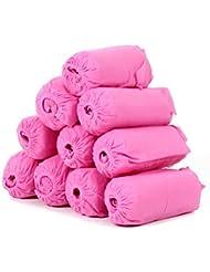 UEETEK Zapatos de 100pcs tela no tejida desechable elástico de cubiertas de la banda a prueba de polvo respirable antideslizante zapato cubiertas (rosa)