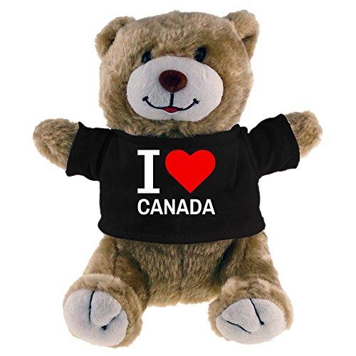 Multifanshop Kuscheltier Bär Classic I Love Canada beige - Stofftier Püschtier Schmusetier -