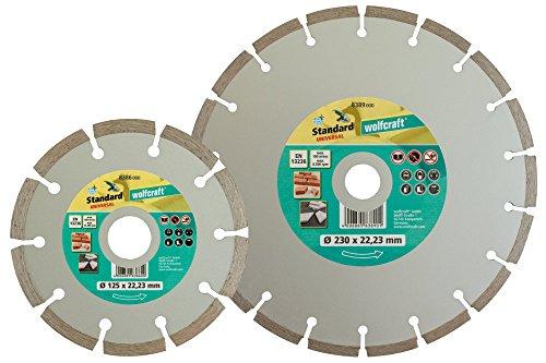 110x22.23mm Wolfcraft 8390000 8390000-1 Set de 2 Discos diamantados de tronzar 110 x 22,23 mm uno segmentado y el Otro Cerrado diam