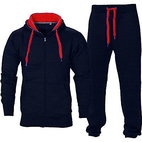 Herren Fitnessstudio Contrast Jogging Trainingsanzug Kapuzenpullis Top Vlies-böden Jogginghose Satz - Marine/Rot, Small (Marine In Dress Blues)