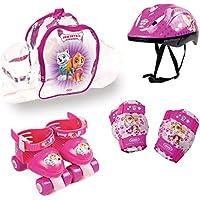 Pat Patrouille - Skye Paw Patrol Rollers–Bolsa PVC Patines Ajustables + Set de Protecciones + Casco niña, Rosa