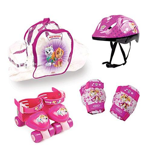 Pat Patrouille - Skye Paw Patrol Inlineskates Tasche PVC Schlittschuhe verstellbar + 6-teiliges Protectoren + Kopfhörer Mädchen, rosa (Schlittschuhe Rosa)