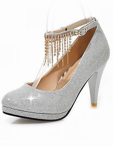 ShangYi Schuh Damen - Hochzeitsschuhe - Absätze / Plateau / Rundeschuh - High Heels - Hochzeit / Kleid / Party & Festivität -Schwarz / Rot / Silber / Black