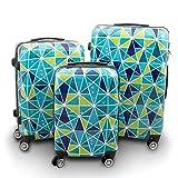 BERWIN Design Koffer Reisekoffer Trolley Hartschalenkoffer Polycarbonat mit 4 Rollen als Set und Einzeln (Colorful Diamond, 3er Set (M/L/XL))