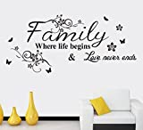 """Family ,where life begins & love never ends.""English Proverbs Wall Stickers Decor Living Room Wall Stickers,Vinyl saying decals for home dorm mural"