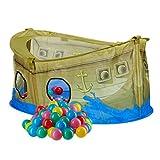 Relaxdays 151 tlg. Bällebad Set, Bällebecken Piratenschiff, mit 150 Weichen Bällen, für Kinder ab 3 Jahre, Bunt
