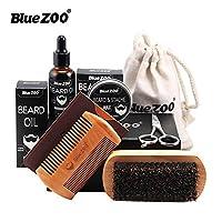Beard Grooming Set Beard Care Beard Growth Kit with Beard Oil, Beard Balm, Beard Brush, Beard Shaping Tool, Beard Scissors, Gift for Men/Father Shaping & Moisturising 100% Natural & Organic BlueZOO