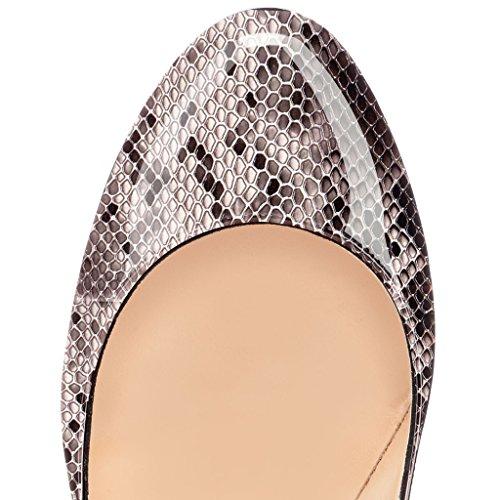 EDEFS Femmes Artisan Fashion Escarpins Classiques Lady Délicats Bout Ronds Chaussures à talon aiguille de 120mm Travail Bureau Python