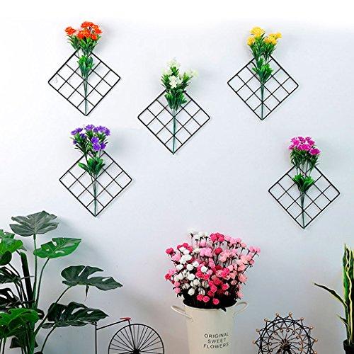 qiman Griglia di traliccio di ferro pannello foto supporto fiore artificiale stoccaggio rack muro decoro a casa