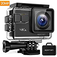 APEMAN Action Camera 4K 20MP Wifi Sports Underwater 40M with EIS 24 Mounting Accessories Kits and Carrying Bag