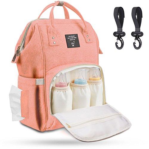 Baby Wickeltasche Wickelrucksack Groß mit Kinderwagenhaken, Multifunktionale Babytasche mit vielen Fächern für Spielzeug, Windeln, Trinkflaschen, Handys und andere Babysachen, Aprikose