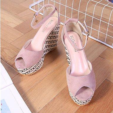 LvYuan Damen-Sandalen-Party & Festivität Kleid Lässig-Kunstleder-Keilabsatz Creepers-Creepers Komfort-Schwarz Rosa Rosenrosa Pink